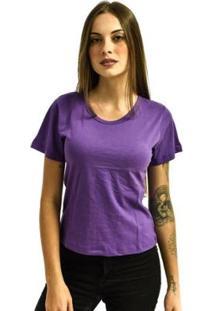 Camiseta Rich Baby Look Básica Lisa Feminina - Feminino-Violeta