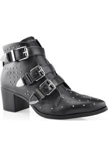 Bota Feminina Ankle Boot Bico Fino Cravo E Canela 155801