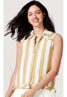 Camisa Feminina Estampada Com Mini Babado