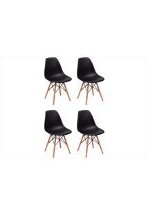 Kit Mpdecor 04 Cadeiras Eiffel Charles Eames Preta
