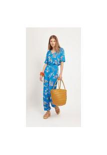Calça Maria Valentina Comfort Cós Intermediário Bolso-Faca Azul