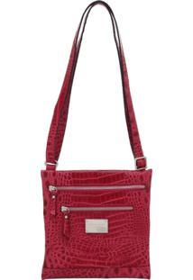 Bolsa Smart Bag Couro Transversal - Feminino-Vermelho