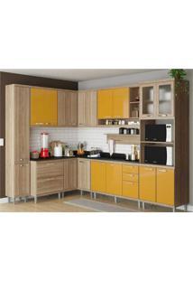 Cozinha Completa Multimóveis Com 10 Peças Sicília 5803 Argila/Amarelo