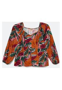 Blusa Estampada Em Viscose Com Decote Princesa Curve & Plus Size Laranja