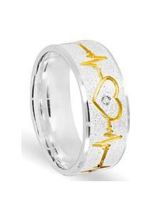 Aliança Em Prata Batimento E Coração Banhado A Ouro E Pedra De Zircônia - As1531 Prata