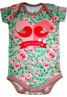Body Manga Curta Isabb Jardim Encantado Rosa/Verde