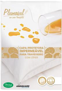 Capa De Travesseiro Impermeável Percal 233 Fios 50X70Cm Branco Plumasul