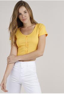 Blusa Feminina Cropped Canelada Com Botões Manga Curta Amarela