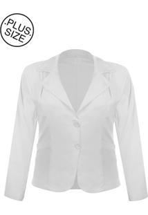 Blazer Outletdri Casaco Terno Terninho Social Plus Size Branco