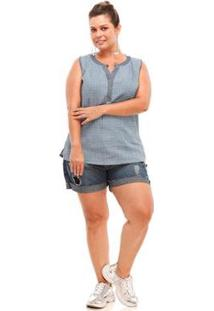 Regata Melinde Plus Size Chambrê Feminina - Feminino-Azul