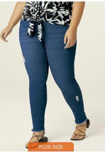 Calça Azul Skinny Cropped Em Jeans Flex Plus