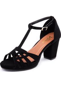 Sandalia Salto Grosso Conforto 101 Preto