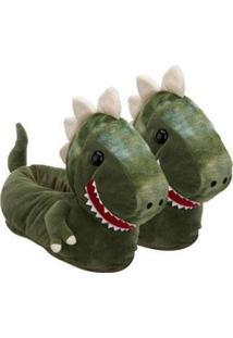 Pantufa 3D Ricsen Dinossauro - Unissex-Verde