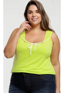 Blusa Feminina Neon Amarração Plus Size