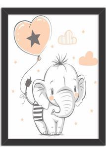 Quadro Decorativo Infantil Elefantinho Fofo Preto - Grande