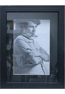 Porta Retrato Em Madeira Caixa Liso 18X13Cm Preto