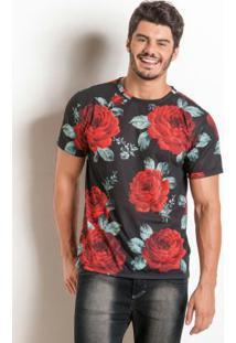Camiseta Preta Actual Com Estampa Floral