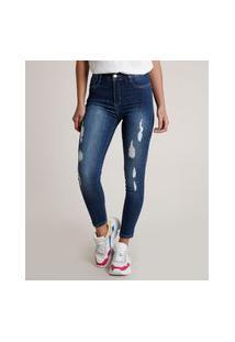 Calça Jeans Feminina Sawary Skinny Cintura Alta Destroyed Azul Escuro