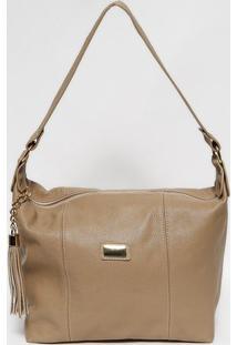 Bolsa Em Couro Com Recortes- Bege & Dourada- 26X37X1Anette