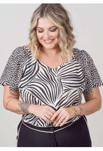 Blusa Animal Print Almaria Plus Size New Umbi Mang
