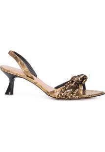 Sandália Feminina Salto Baixo Com Nó - Dourado