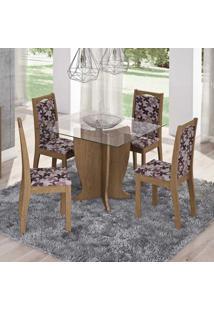Conjunto De Mesa Luana Com Vidro E 4 Cadeiras Livia Savana E Floral Bordo