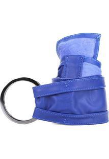 Cinto Couro Shoestock Faixa Argolas Feminino - Feminino-Azul