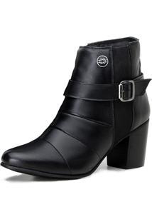 Bota Capelli Ankle Boot Não Possui Cadarço Com Fivela E Fecho Éclair Preto
