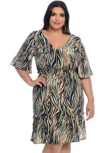 Vestido Plus Size Join Curves Estampa Animal Print Babado-54
