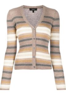 Theory Striped Knit Cardigan - Marrom