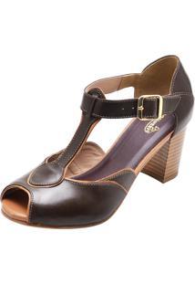 Sandália Em Couro Sapatofran Retro Vintage Marrom - Kanui