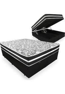 Cama Box Com Baú Queen + Colchão De Molas - Anjos - Black Graphite - 158X198X68Cm Preto