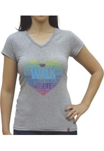 Camiseta Baby Look Casual Sport Walk Cinza