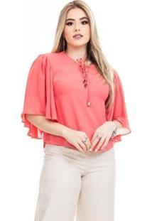 Blusa Clara Arruda Decote Cruzado Feminina - Feminino-Coral