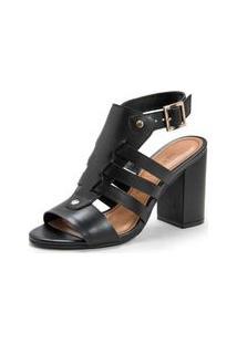 Sandalia Salto Alto Estilo Sandal Boot Com Detalhe De Tiras Preto - 35