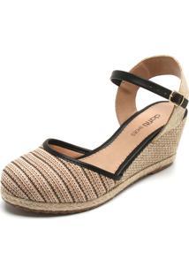 Sandália Dafiti Shoes Espadrille Bege/Preto