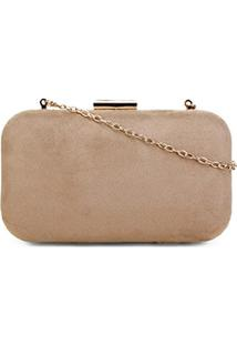 Bolsa Shoestock Clutch Evening Flame Veludo Feminina - Feminino-Nude