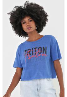 Camiseta Triton Lettering Azul
