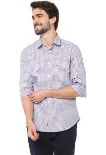 Camisa Aramis Reta Xadrez Branca/Azul-Marinho