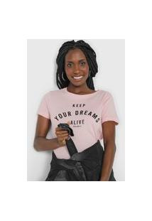 Camiseta Polo Wear Keep Your Dreams Alive Rosa