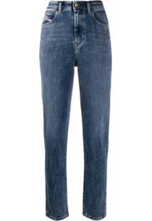 Diesel Calça Jeans Reta Desbotada - Azul