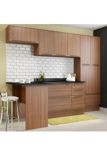 Cozinha Compacta 11 Portas Com Tampo E Rodapé 5454R Nogueira/Malt - Multimóveis