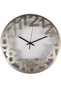Relógio De Parede Estilo Vintage Detalhes Prata 30X30 - Minas