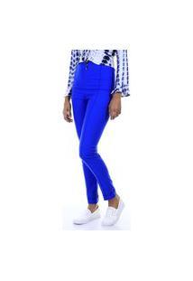 Calça Skinny Cintura Alta Com Nervuras Azul Royal - Amarelo Aha
