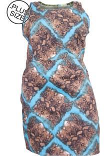 Vestido Plus Size - Confidencial Extra Regata Estampado De Sarja Com Elastano - Tricae