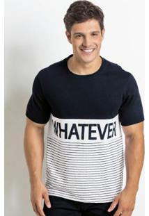 Camiseta Preta E Branca Com Estampa Whatever