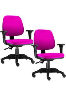 Kit Cadeiras Giratória Lyam Decor Job Rosa