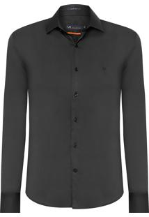 Camisa Masculina Urban Cetim Slim - Preto