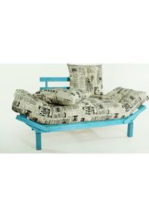 Sofá Cama Madeira Futon Country Comfort Acab. Stain Azul Com Almofada/Colchao Tecido T09 - 190X80X83 Cm