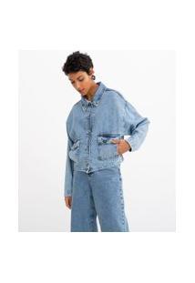 Jaqueta Oversized Jeans Lisa Com Bolsos Frontais | Marfinno | Azul | M